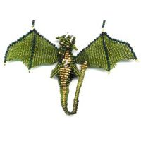 3D Beaded Olive Dragon