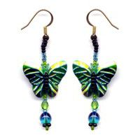 Butterfly Green Sequin Earrings