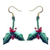Christmas Holly Sequin Earrings
