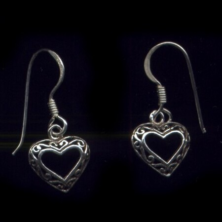 Lace Heart Sterling Silver French Hook Earrings